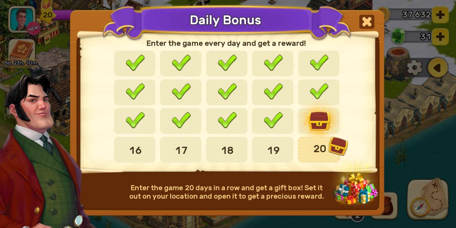Klondike Adventures daily reward screen